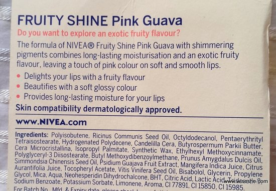 NIVEA Fruity Shine Lip Balms ingredients